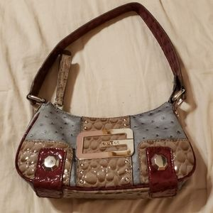 Guess Purse Pink Gray Brown Dots Flower Arm